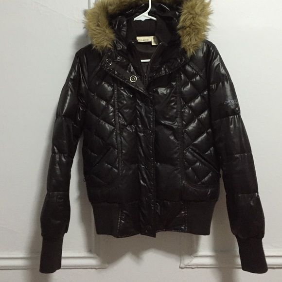 DKNY puffer bomber coat The hood is not removable. Two pockets on the front. Dark Brown. Warm enough for winter. DKNY Jackets & Coats