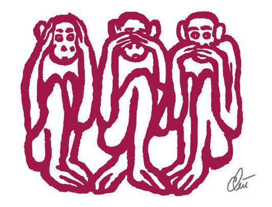 jacqueline ditt 3 wise monkeys orig grafik handsigniert. Black Bedroom Furniture Sets. Home Design Ideas
