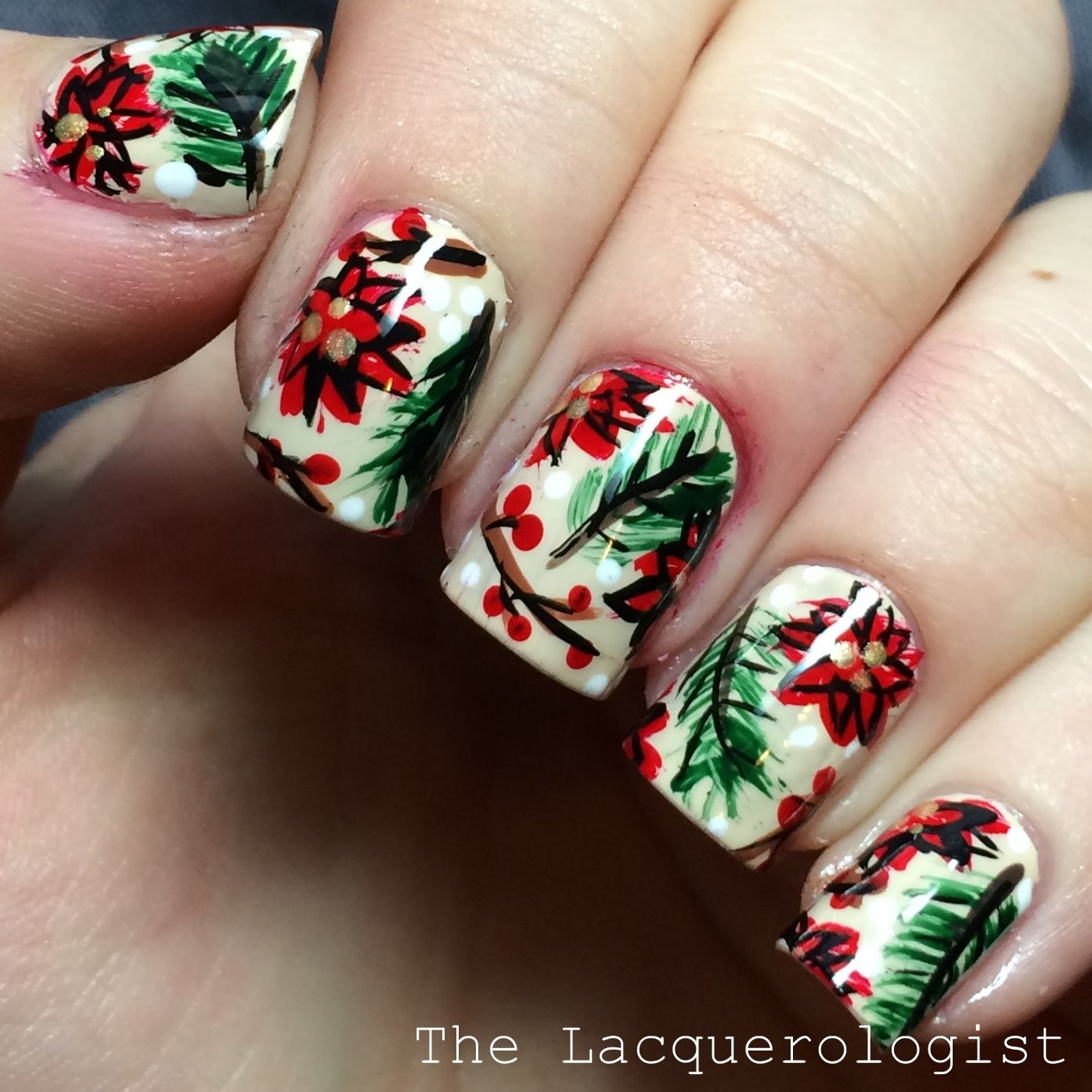 Winter Christmas Nail Designs: The Lacquerologist: Abstract Christmas Floral