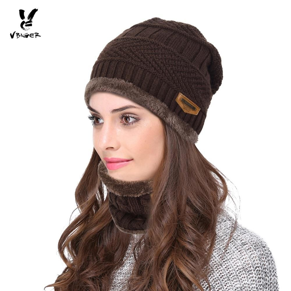 13f07466be17b VBIGER 2pcs Men Women Winter Warm Knitted Hat Beanie Set Thicken Solf  Fleece Lining Hat Cap with Circle Scarf Outdoor Hat. Yesterday s price  US   9.53 (8.47 ...