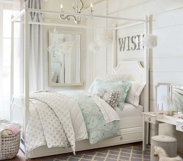 chambre adulte originale en blanc et tons pastel ambiance romantique chambre coucher. Black Bedroom Furniture Sets. Home Design Ideas