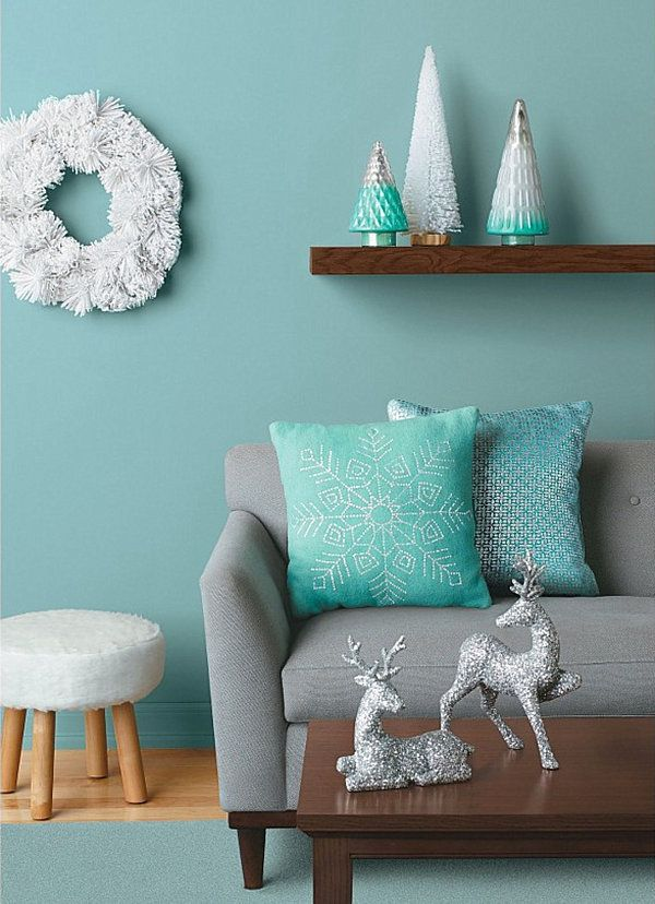 Refreshing Holiday Living Room With Blue Wall Interior And White Wreath  Design