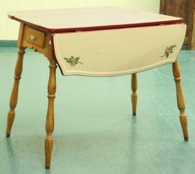 1309: 1920\'s drop leaf kitchen table, heavy steel top w on ...