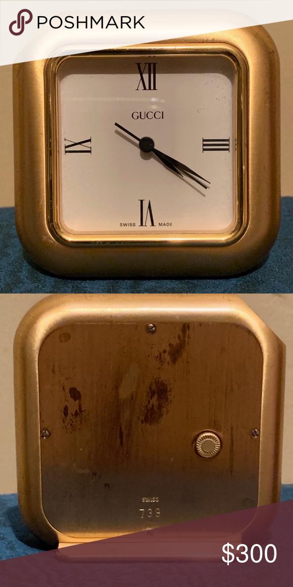 Gucci Desk Clock, Gold