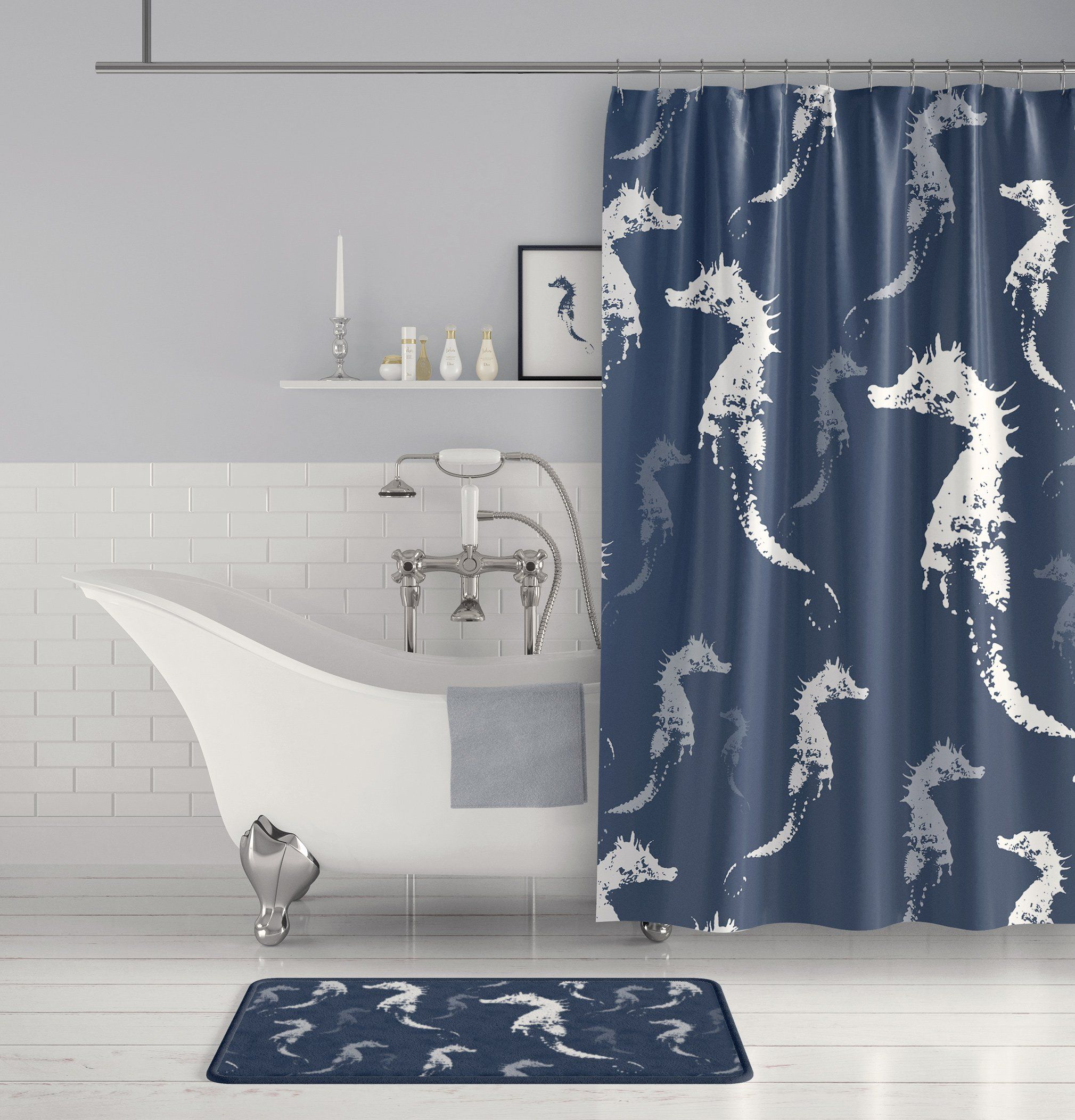 Seahorse Shower Curtain Slate Blue Gray And White For The