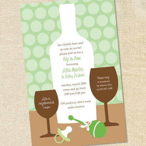sweet wishes sip and see baby shower invitations wine printed