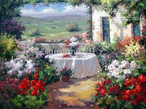 Flower Garden Paintings gallery for > oil paintings of flower gardens | gardens on canvass