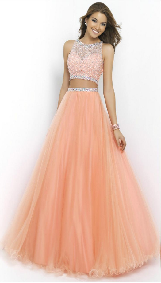 5385446c52 Peach Two Piece Long Prom Dresses Beaded Scoop  prom  promdress  dress   eveningdress  evening  fashion  love  shopping  art  dress  women  mermaid   SEXY ...