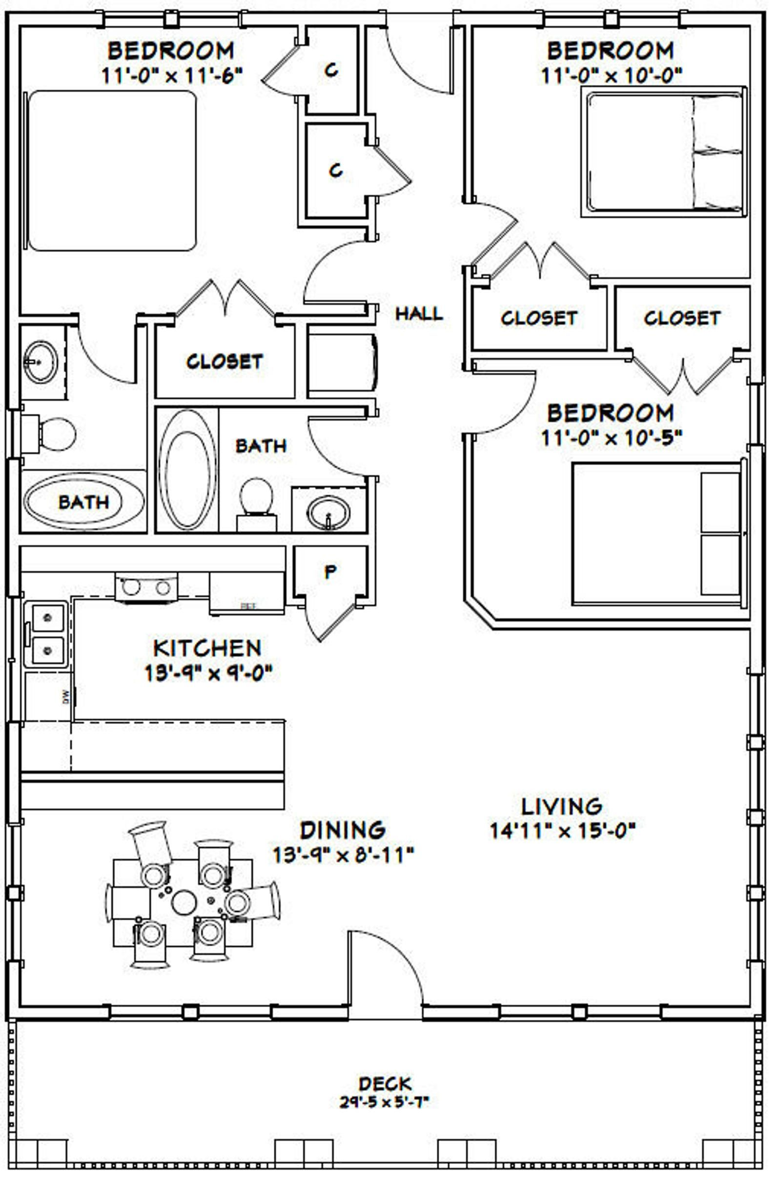 30x40 House 3-Bedroom 2-Bath 1200 sq ft PDF Floor | Etsy ...