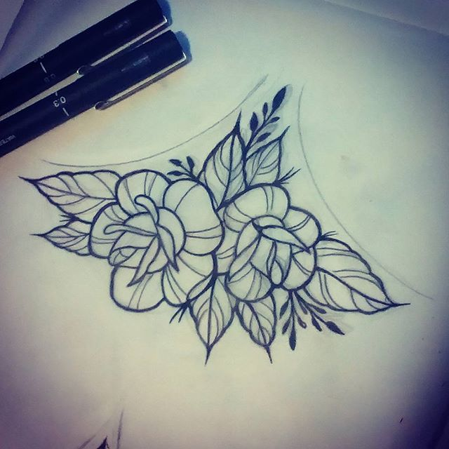 Floral Tattoo   Sternum Tattoo, Rose Tattoos, Tattoos-3616