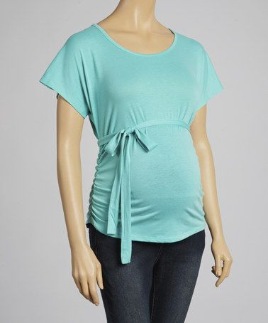 This Black Front-Tie Maternity Scoop Neck Top by Mom & Co. is perfect! #zulilyfinds