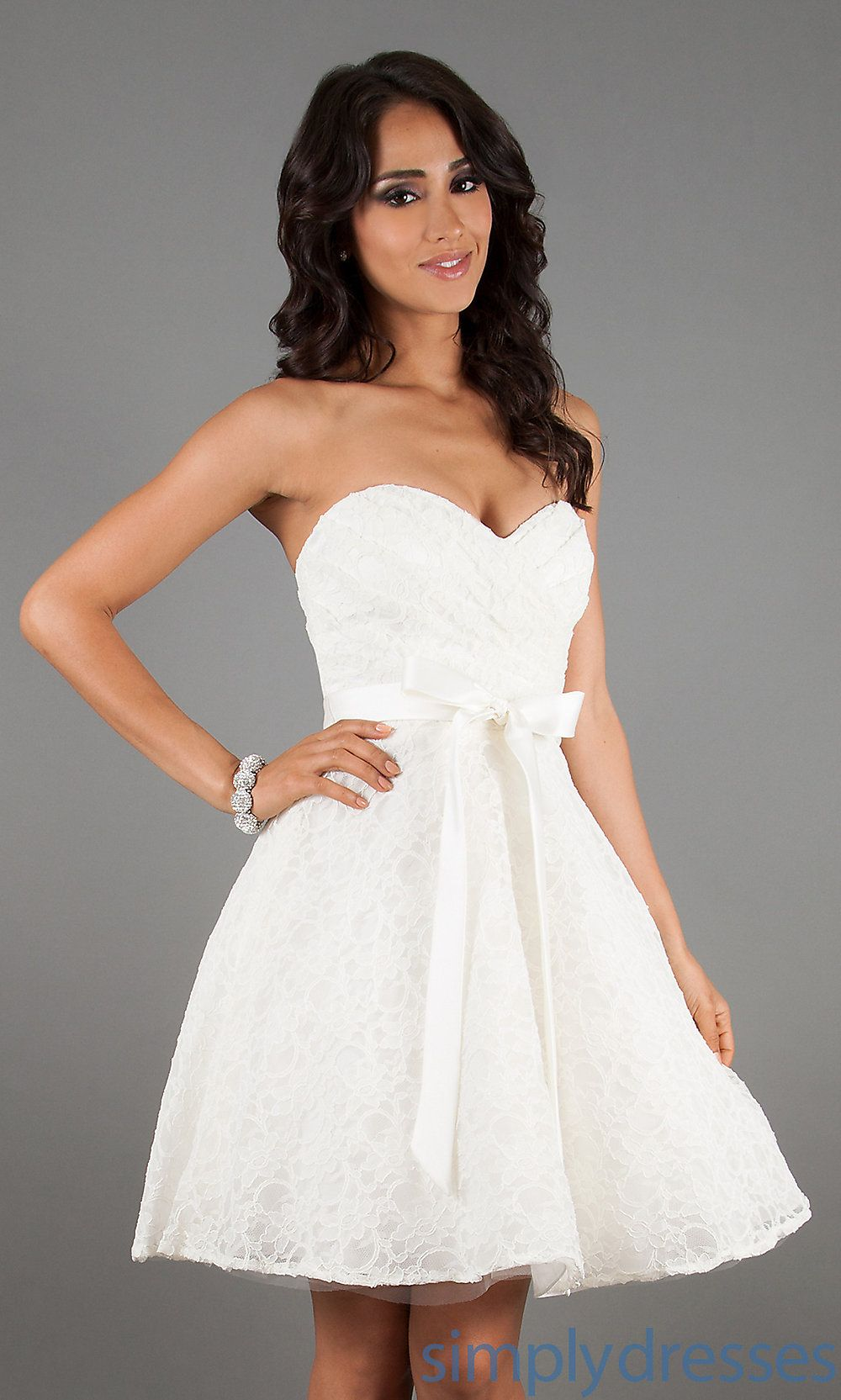 Dress, Short Strapless Sweetheart Lace Dress Simply