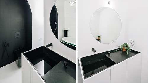 Vasque de salle de bains et douche à l'italienne coloris noir et blanc