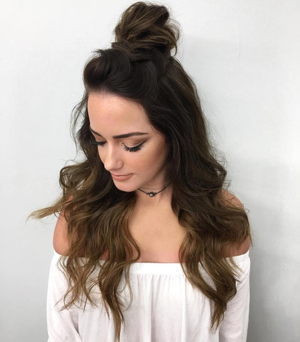 20 Ideas How To Spice Up Your Half Bun Half Bun Hairstyles Top Knot Hairstyles Easy Bun Hairstyles
