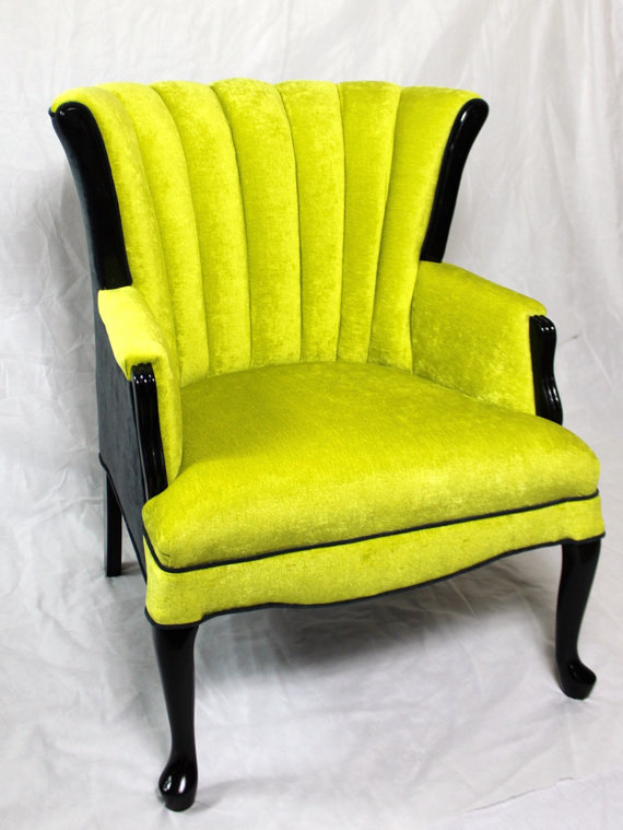 Attrayant SOLD  CAN REPLICATE Vintage Channel Chair Wing Back Chair With Lime Green  Jewel Tone Velvet And Charcoal Velvet