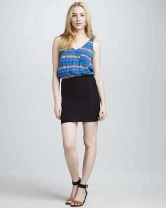 Eight Sixty Banded-Skirt Dress, Blue/Black - Neiman Marcus