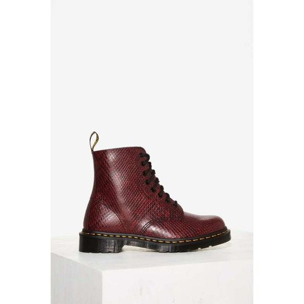 Dr. Martens 8-Eye Leather Boot ($135) ❤ liked on Polyvore featuring shoes, boots, red, platform shoes, red platform shoes, grunge boots, genuine leather boots and red leather boots