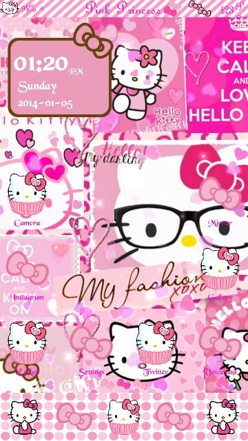 Pink Hello Kitty Homescreen With Some Help From Prettydroid