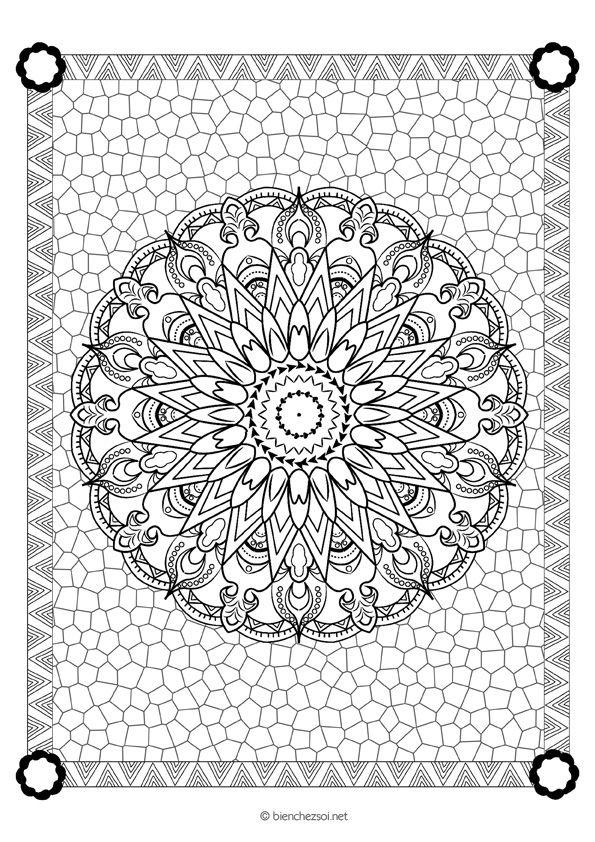 Coloriage mandala fleuri gratuit pour adulte - Bienchezsoi.net