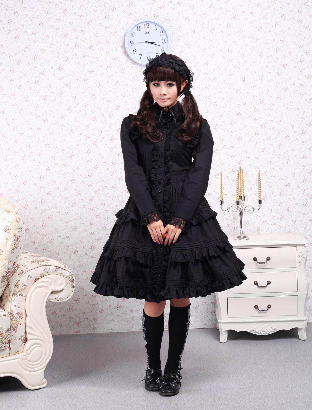 Cotton black ruffle sweet lolita dress lolita dresses pinterest