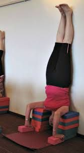 image result for headstand variations props  iyengar yoga