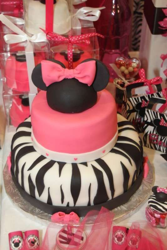 Minnie Mouse ZebraHot Pink Birthday Party Ideas Photo 19 of 36