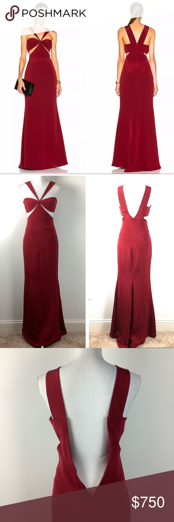 """Cushnie et ochs- Eva cutout silk gown dress Cushnie et ochs eva silk gown dress size 2. Red color. Cutout front. Zipper back. Fully lined. Full length. 100% silk. The dress is brand new without tags.  Measurements are taken laid flat  Chest 14"""" Length 62"""" - 0317 cushnie et ochs Dresses"""