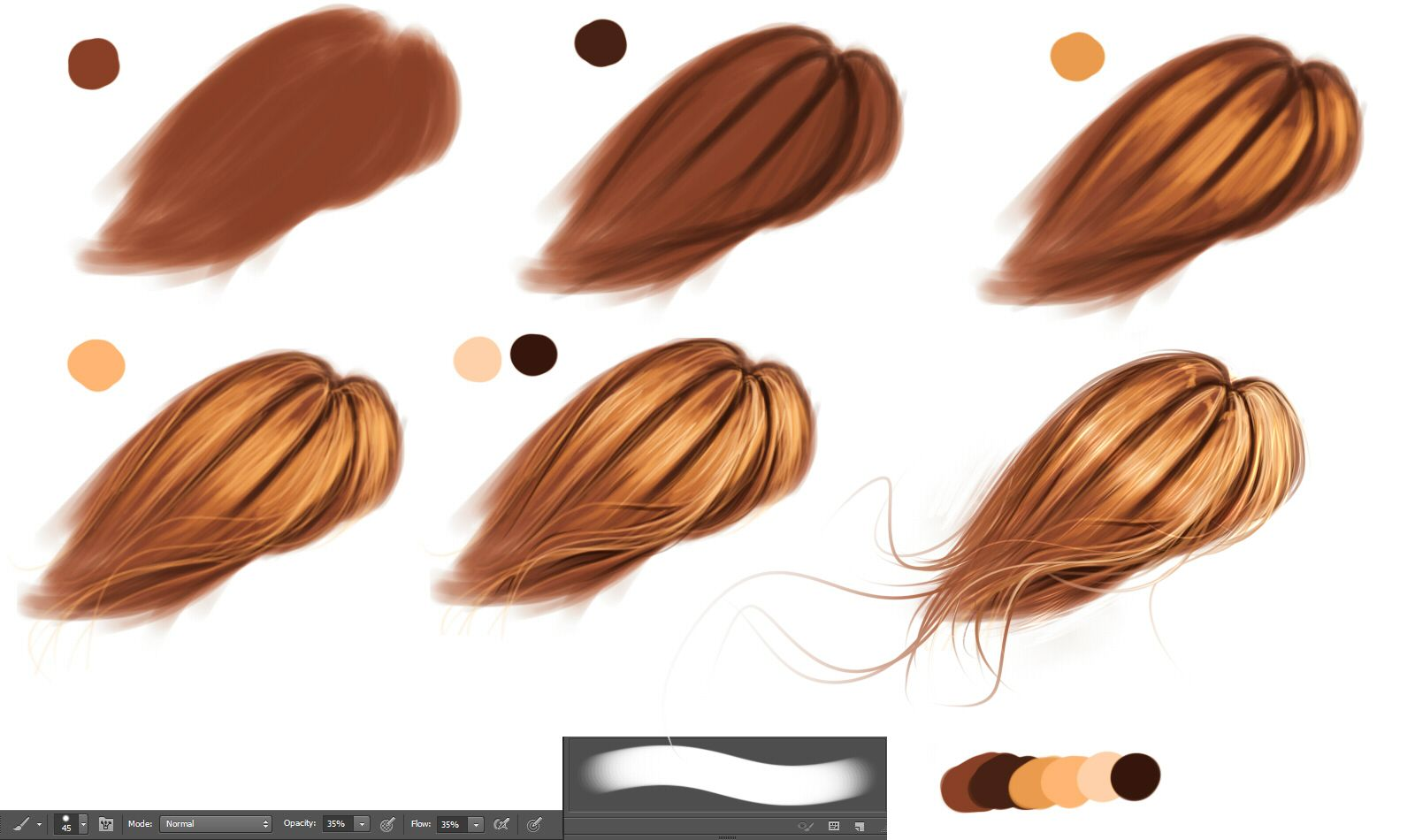 Hair Technique By Ryky On Deviantart Drawing Hair Tutorial Digital Art Tutorial How To Draw Hair