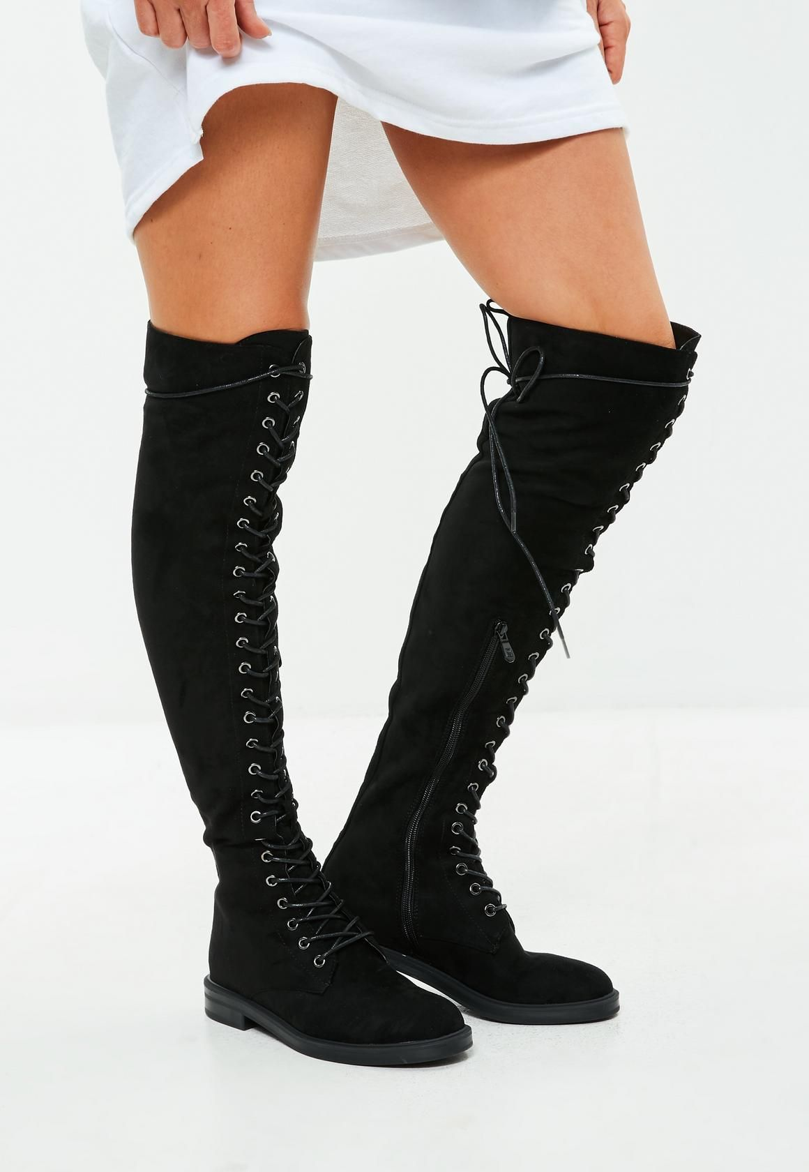 87650f16a21 Missguided - Black Lace Up Over The Knee Boots