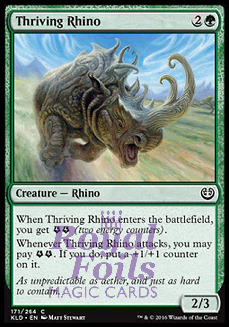 4x foil thriving rhino kld mtg kaladesh common mint