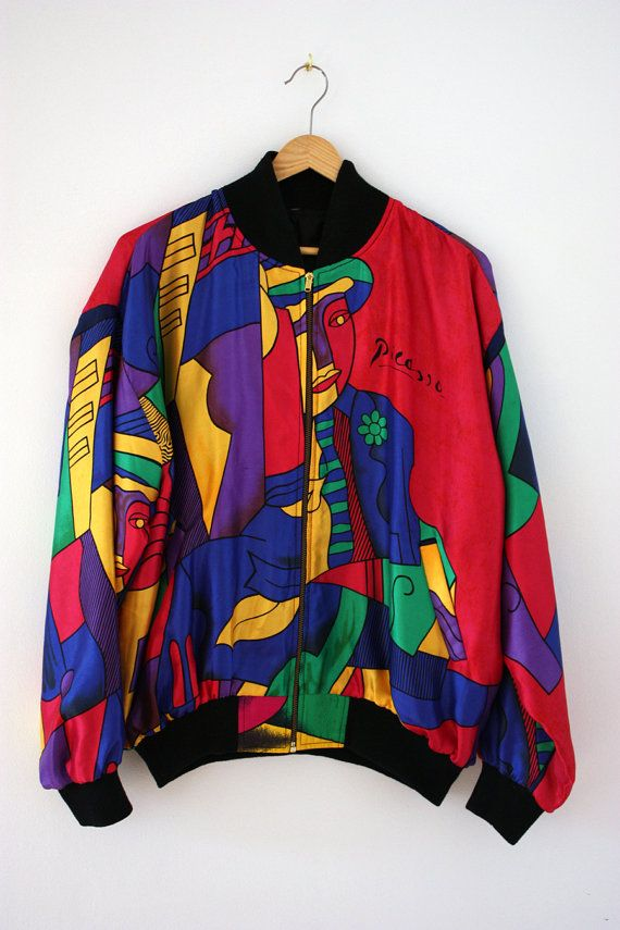 bc7100701 Vintage 80s Picasso satin bomber jacket by mariemagie on Etsy ...