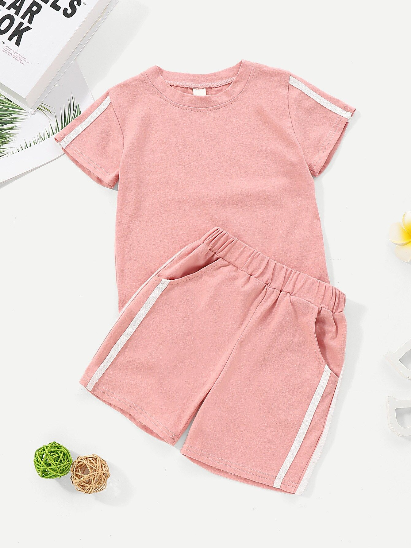 Toddler Girls Contrast Tape Tee With Shorts #toddlershorts