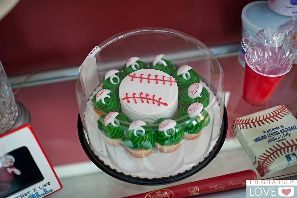 Baseball smash cake and cupcakes Sams Club Aidens 1st bday