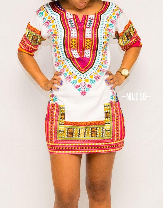White And Pink Custom Dashiki Dress