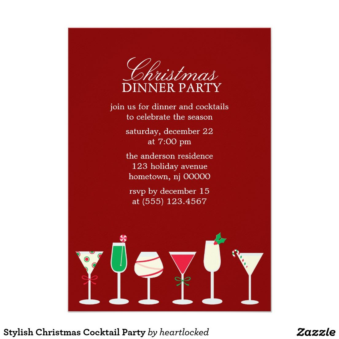 Stylish Christmas Cocktail Party Invitation Zazzle Com