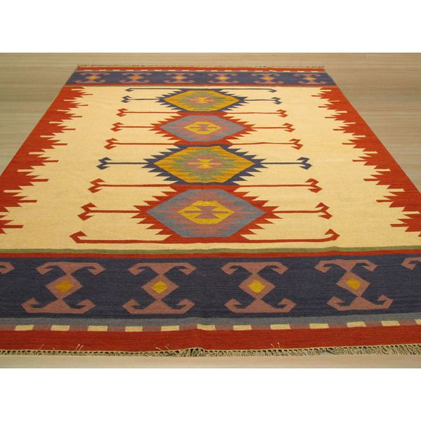 EORC Handmade Ivory/ Red Keysari Kilim Wool Rug (5' x 8') - Overstock™ Shopping - Great Deals on EORC 5x8 - 6x9 Rugs