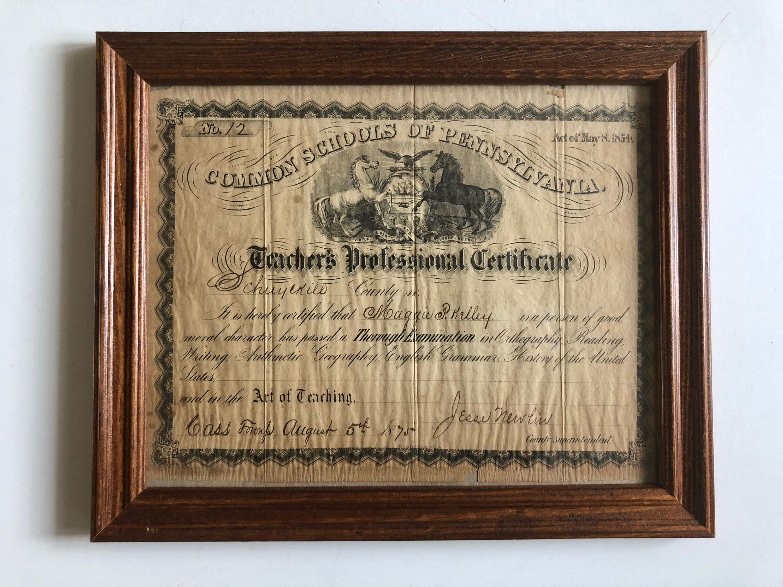Teaching Certificate Antique 1875 Teachers Professional