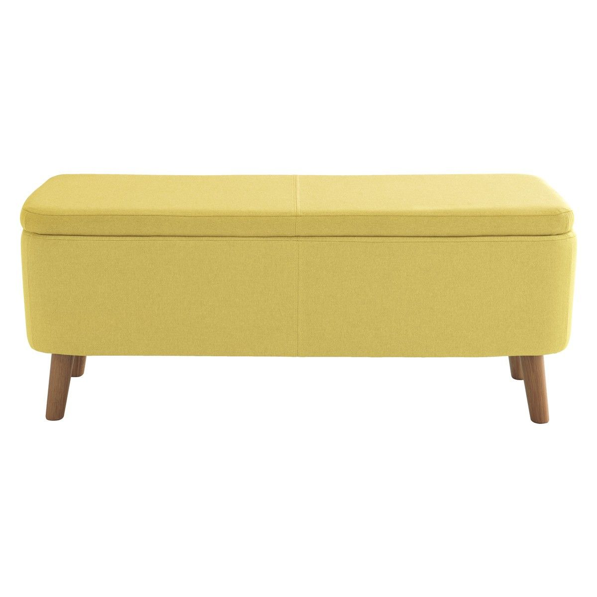 Jacobs Saffron Yellow Upholstered Storage Bench New