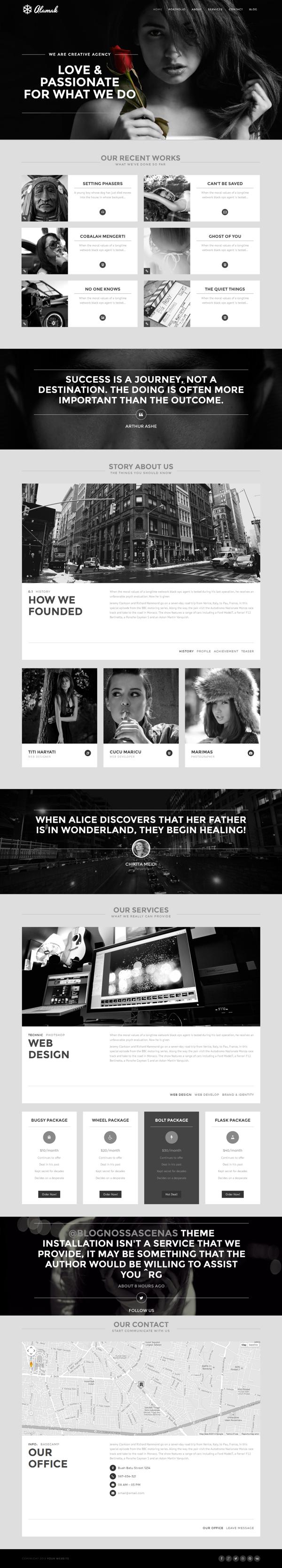 Alamak - Responsive One Page Portfolio Theme | Pagina web ...