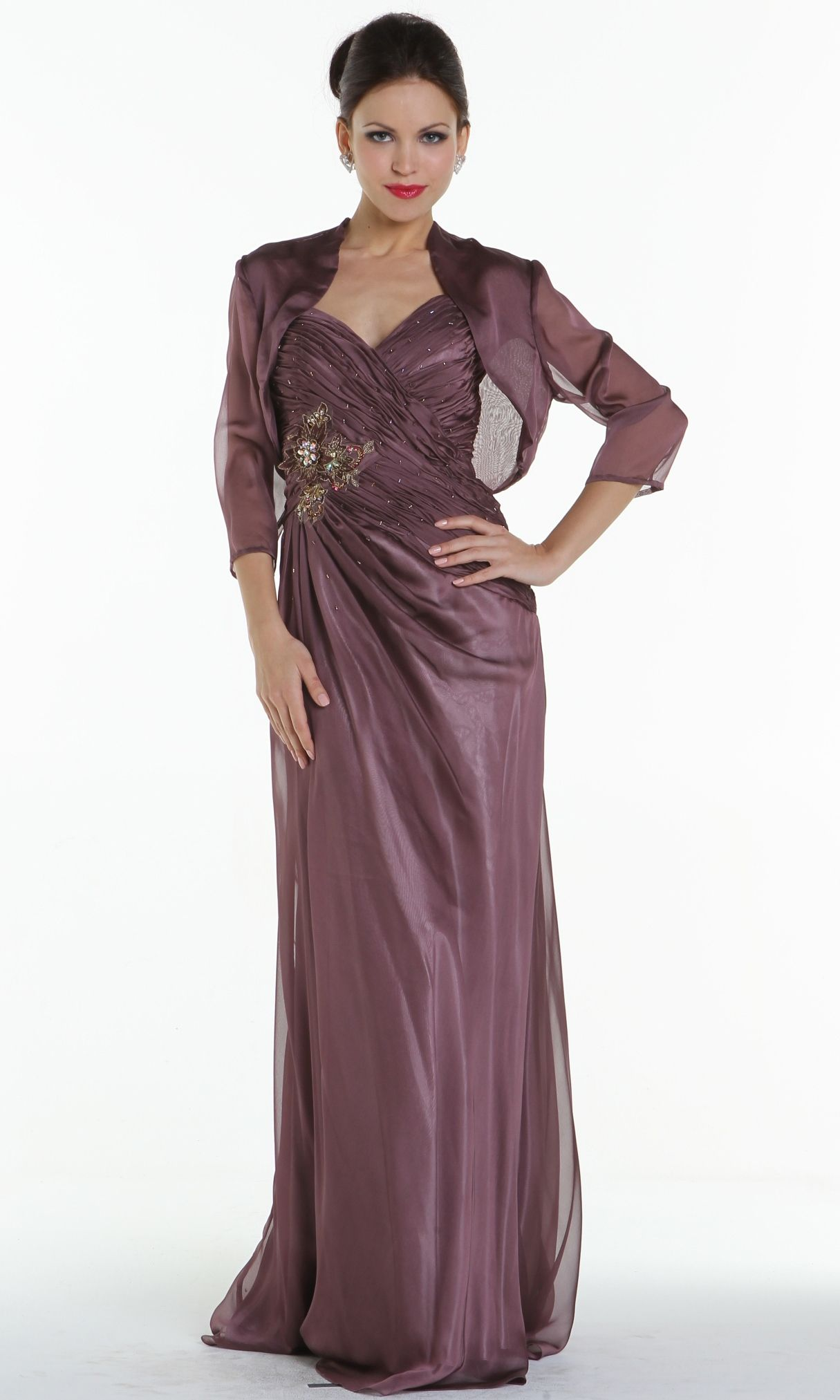Simple sweetheart full length gown with embellishment along the