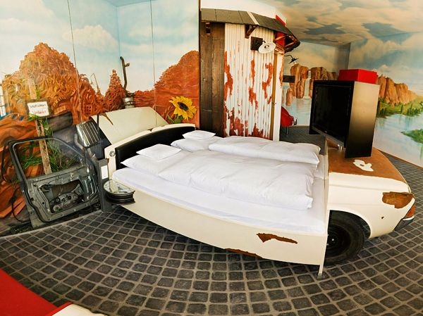 Non residential v8 hotel cow print car bed amazing car themed rooms of v8