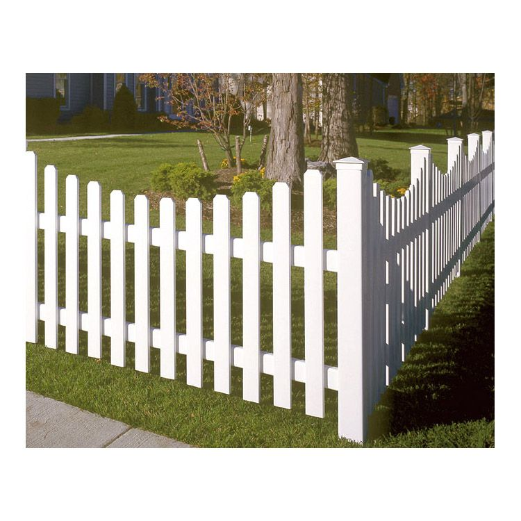 This Vinyl Fence Style Replaces The Classic Wooden Picket Fence Featuring 3 Wide Pickets In A Concave Pattern Pickets Measure Vinyl Fence Fence Styles Fence