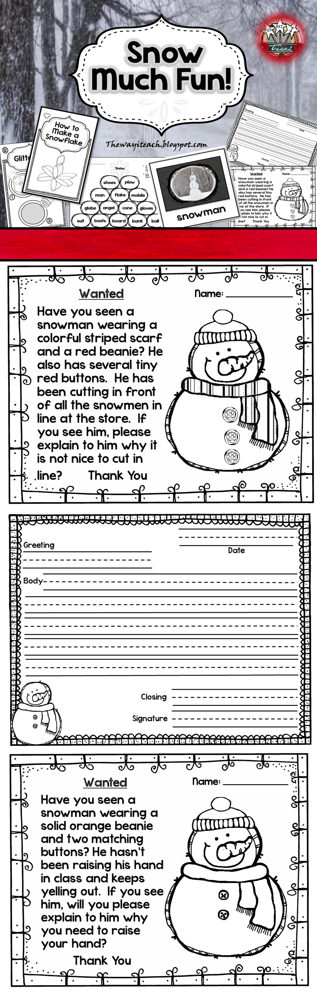 Christmas Activities Winter Activities Compound Words Social Skills Snowflake Craft Friendly Snowmen Activities Art Therapy Activities Holiday Activities [ 3456 x 1104 Pixel ]