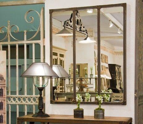 Miroir triptyque eiffel structure m tal rouill et rivet for Miroir autocollant ikea