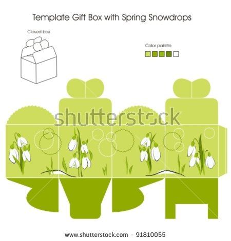Template gift box with Spring Snowdrop flowers