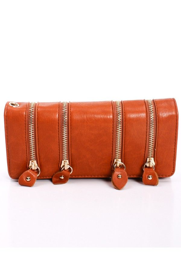 CAMEL FAUX LEATHER FOLD OVER ZIPPER ACCENT WALLET $25.99