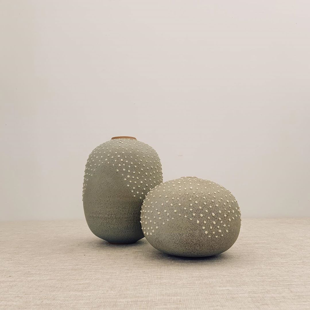 "Mel Lumb on Instagram: ""Back in the studio for more texture play 🤗 . #2020 #handmadeceramics #stoneware #keaneceramics #wheelthrown #textured #vase #vessel…"""