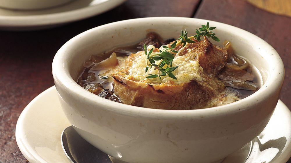 Fantastic French onion soup is made even heartier with beef stew meat. Start the soup in the morning and come home to a no-fuss dinner.