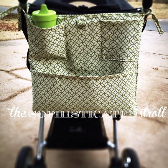 Stroller accessory// stroller organizer// stroller accessories// The Sophisticated Stroll by SophisticatedStroll on Etsy // custom made // stroller caddy // $50.00