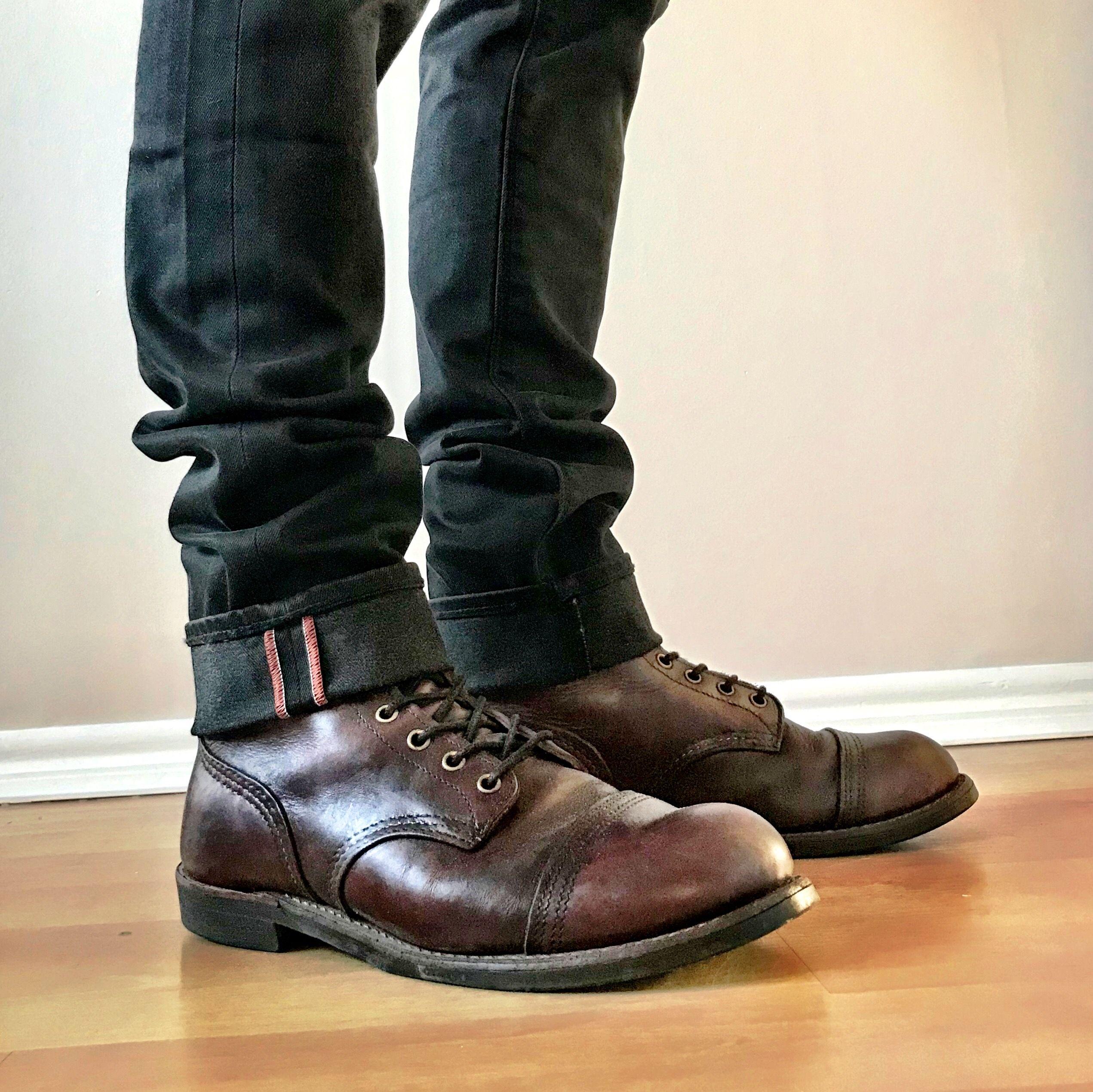 Redwing Iron Ranger 8119 Cuffed Superdry Black Denim Mens Boots Fashion Mens Fashion Rugged Hipster Mens Fashion [ 2540 x 2542 Pixel ]